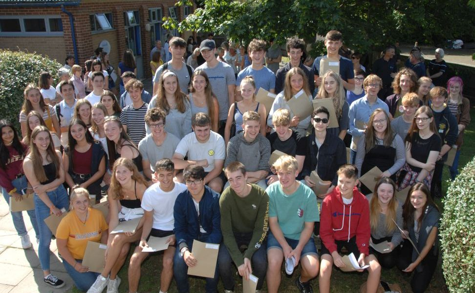 Students gathered with their results