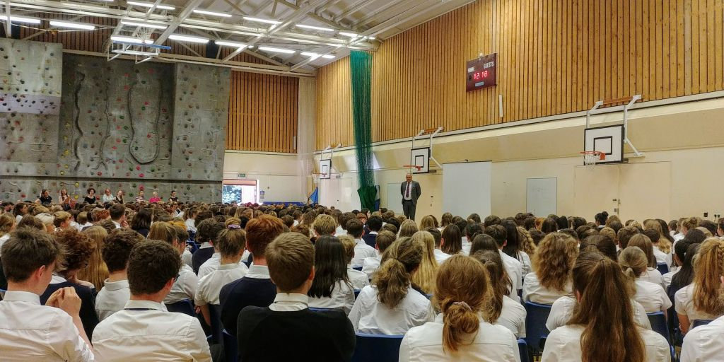 Mr Willis gives his last assembly in the sports hall.